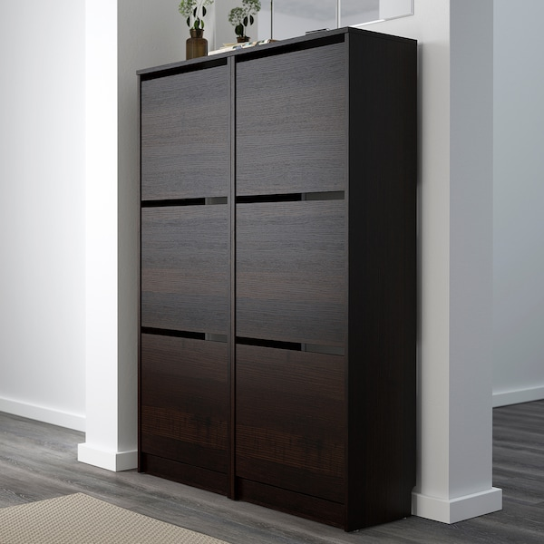 """BISSA Shoe cabinet with 3 compartments, black/brown, 19 1/4x53 1/8 """""""