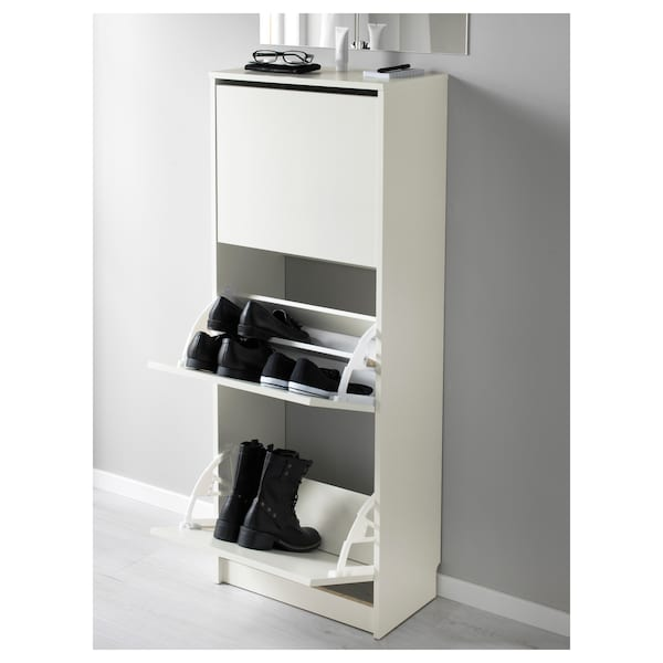 """BISSA Shoe cabinet with 3 compartments, white, 19 1/4x53 1/8 """""""