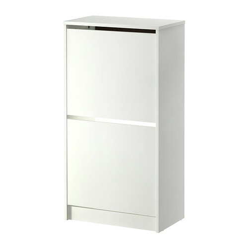BISSA Shoe cabinet with 2 compartments, white white 19 1/4x36 5/8