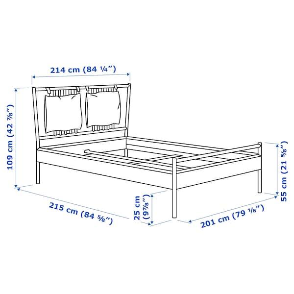 BJÖRKSNÄS Bed frame, birch/Luröy, King