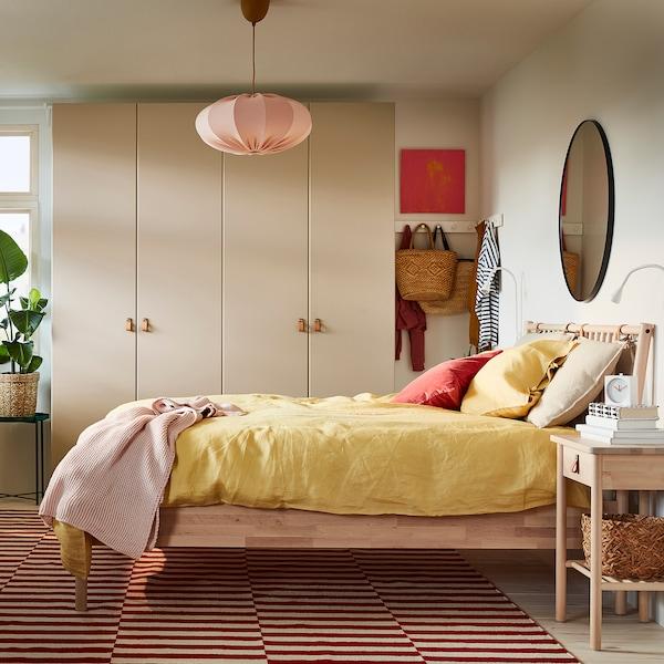 BJÖRKSNÄS Bed frame, birch/Luröy, Queen