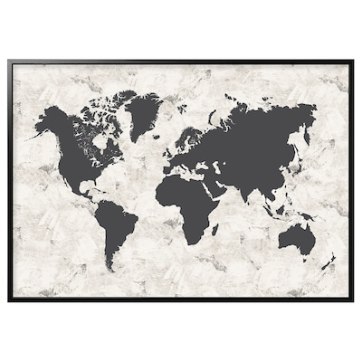 """BJÖRKSTA Picture and frame, black and white world map/black, 78 ¾x55 """""""
