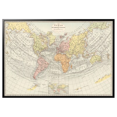 """BJÖRKSTA Picture and frame, Historical map, 1881/black, 78 ¾x55 """""""