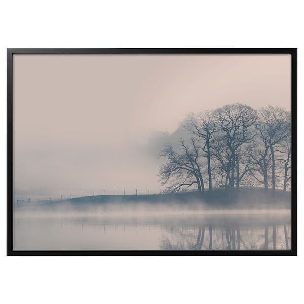 BJÖRKSTA Picture and frame, Misty landscape/black, 55x39 ¼ ""