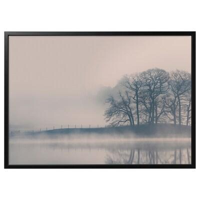 """BJÖRKSTA Picture and frame, Misty landscape/black, 55x39 ¼ """""""