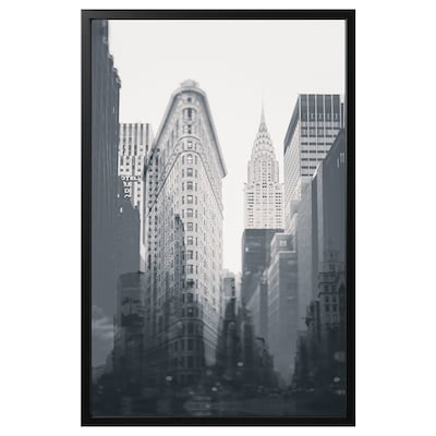 """BJÖRKSTA Picture and frame, New York City/black, 46 ½x30 ¾ """""""