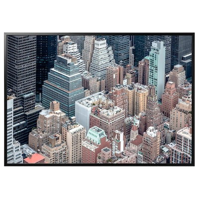 """BJÖRKSTA Picture and frame, New York from above/black, 78 ¾x55 """""""