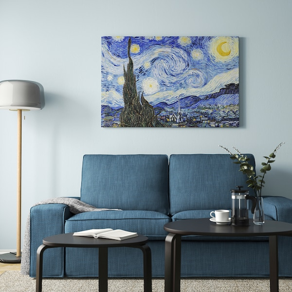 """BJÖRKSTA Picture and frame, Starry Night/black, 46 ½x30 ¾ """""""