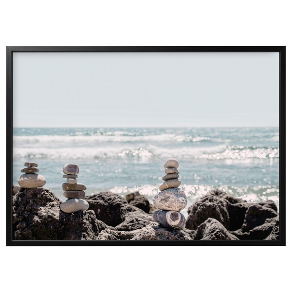 BJÖRKSTA Picture and frame, Stone art/black, 55x39 ¼ ""