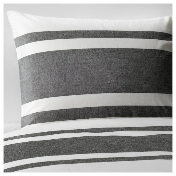 BJÖRNLOKA Duvet cover and pillowcase(s), white/black, Full/Queen (Double/Queen)