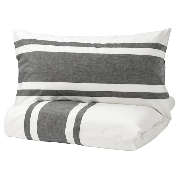 BJÖRNLOKA Duvet cover and pillowcase(s), white/black, Full/Queen (Double/Queen)