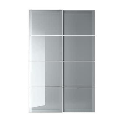"BJÖRNÖYA Pair of sliding doors, gray tinted effect, 59x92 7/8 """