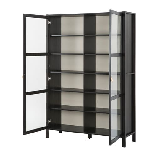 BJÖRKSNÄS Glass-door cabinet with 2 doors IKEA Solid wood is a durable natural material.  1 stationary shelf for high stability.