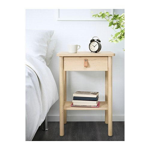 BJÖRKSNÄS Nightstand IKEA Smooth running drawer with pull-out stop.  Made of solid wood, which is a durable and warm natural material.