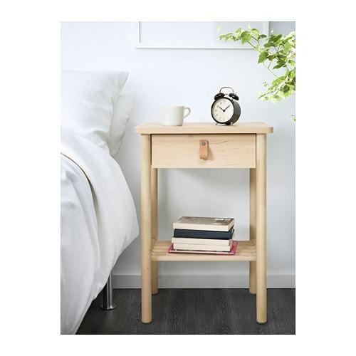 Bj rksn s nightstand ikea for Ikea solid wood nightstand