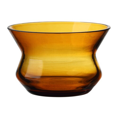 BJÖRKSNÄS Tealight holder, glass orange