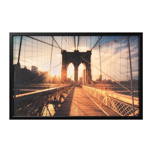 BJÖRKSTA Cuadro y marco, Puente de Brooklyn al atardecer, color aluminio