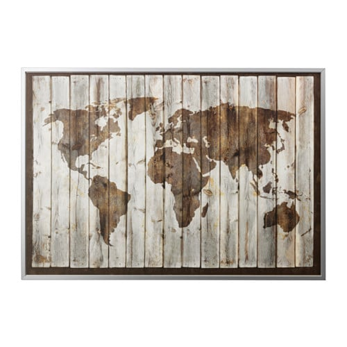 BJÖRKSTA Picture and frame, driftwood map, aluminum color aluminum color 78 ¾x55