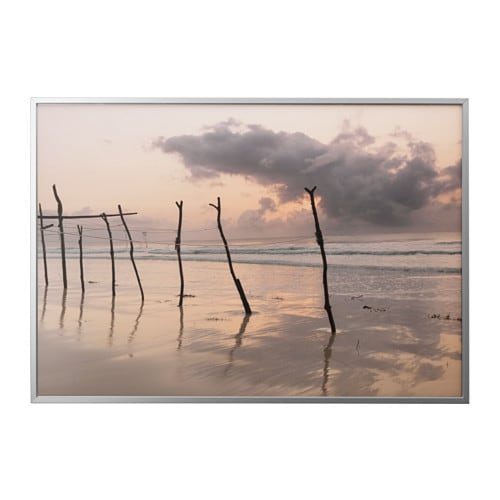 BJÖRKSTA Picture and frame, African dawn, aluminum color aluminum color 78 ¾x55