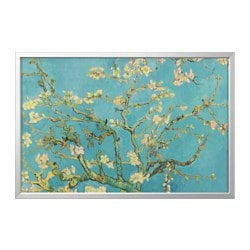 BJÖRKSTA picture and frame, almond blossom, aluminum color