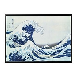 BJÖRKSTA picture and frame, Japanese wave, black