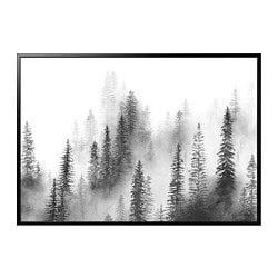 BJÖRKSTA picture and frame, Pines, black