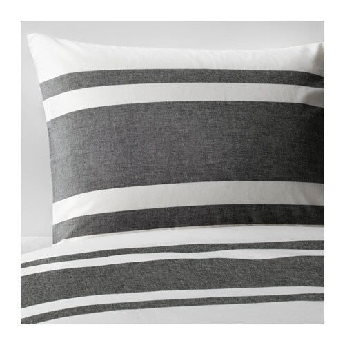 BJÖRNLOKA Duvet cover and pillowcase(s), white black, black white/black Full/Queen (Double/Queen)