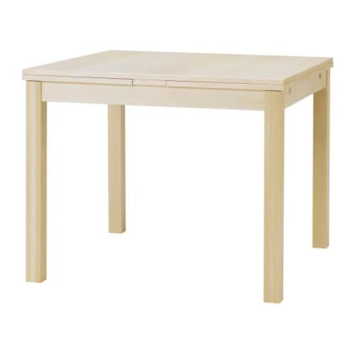 Bjursta extendable table birch veneer ikea for Table 30 personnes