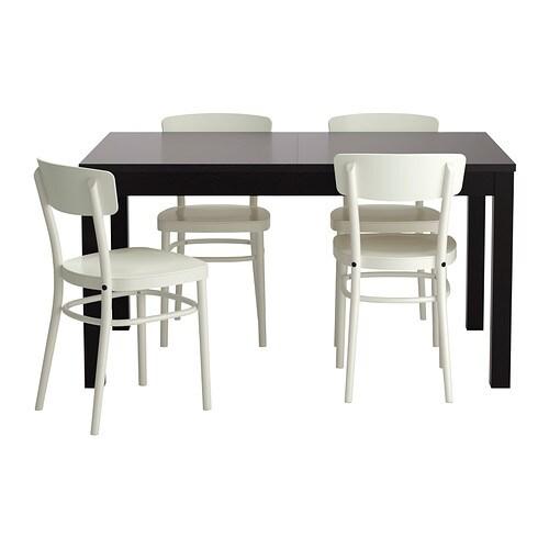 BJURSTA / IDOLF Table and 4 chairs, black-brown, white