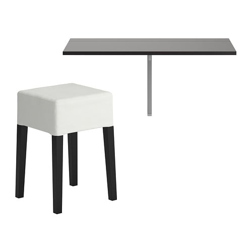 BJURSTA / NILS Table and 1 stool IKEA Becomes a practical shelf for small things when folded down.