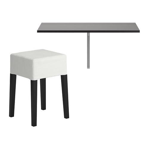 BJURSTA / NILS Table and 1 stool, brown-black, Blekinge white