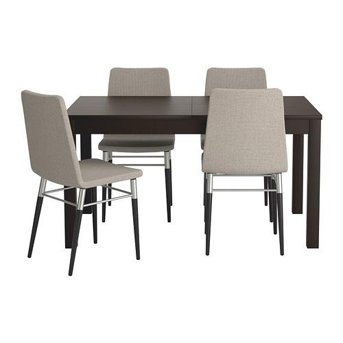 BJURSTA / PREBEN Table and 4 chairs, brown-black, Tenö light gray