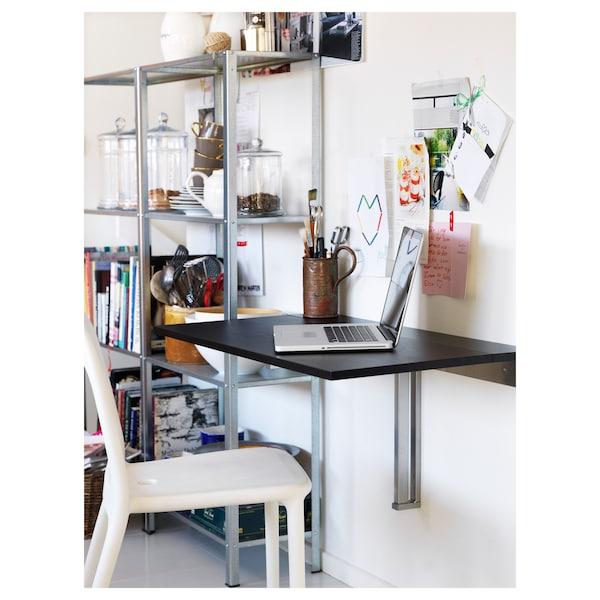 BJURSTA Wall-mounted drop-leaf table - brown-black - IKEA