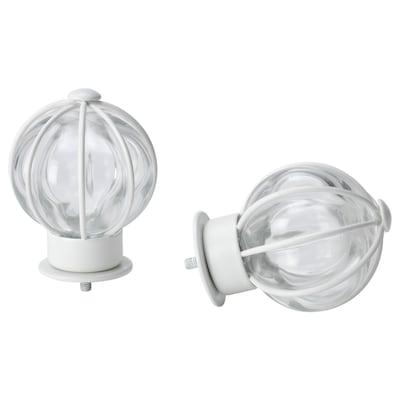 BLÅST finials, 1 pair white/glass