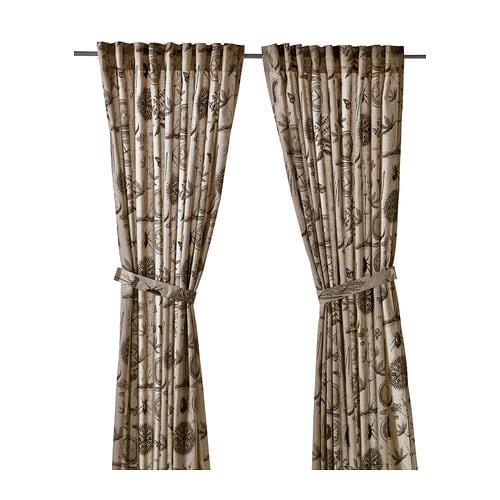 bl vinge curtains with tie backs 1 pair ikea. Black Bedroom Furniture Sets. Home Design Ideas