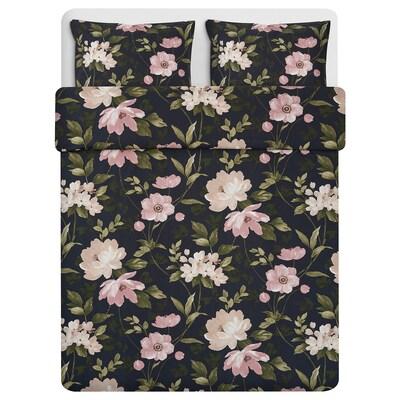 """BLEKFRYLE duvet cover and pillowcase(s) black/flower 250 /inch² 2 pack 86 """" 86 """" 20 """" 30 """""""