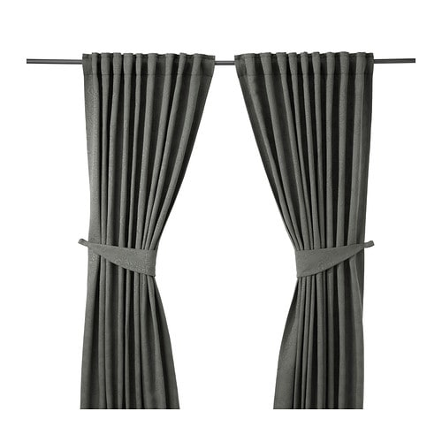 BLEKVIVA Curtains with tie-backs, 1 pair, gray gray 57x98