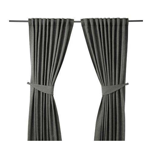BLEKVIVA Curtains with tie-backs, 1 pair, gray gray 57x98
