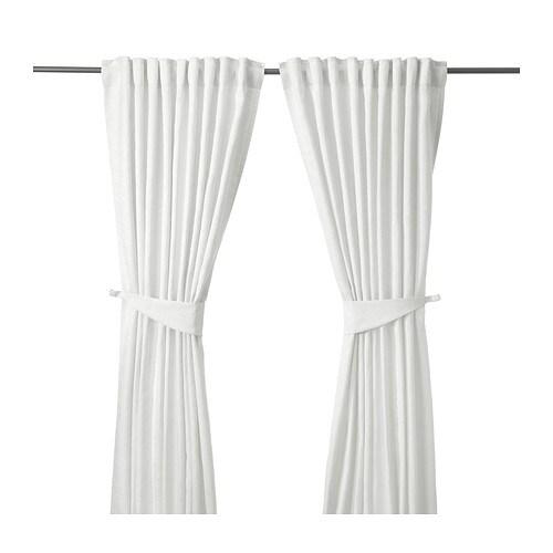 BLEKVIVA Curtains with tie-backs, 1 pair, white white 57x98