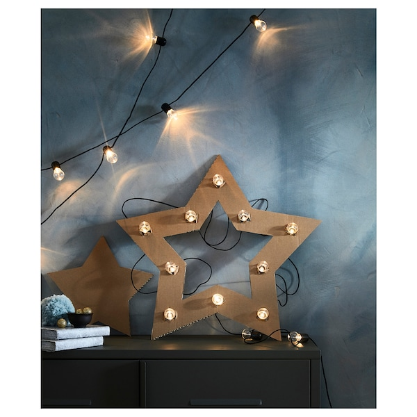 """BLÖTSNÖ LED string light with 12 lights indoor/battery operated black 4 ' 11 """" 12 """" 0.2 W 15 ' 9 """""""