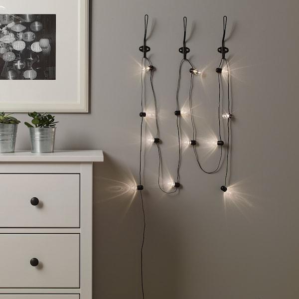 BLÖTSNÖ LED string light with 12 lights, indoor/battery operated black