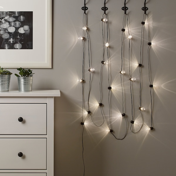 BLÖTSNÖ LED string light with 24 lights, indoor black