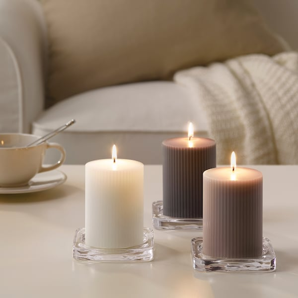 """BLOMDOFT Scented block candle, Gladiolus/gray, 4 """""""