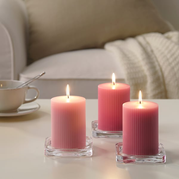 """BLOMDOFT scented block candle Peony/pink 4 """" 2 ¾ """" 30 hr 3 pack"""