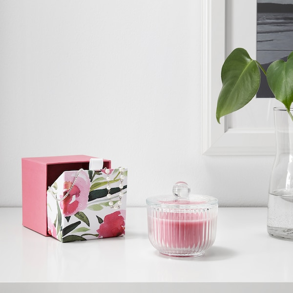 BLOMDOFT Scented candle in glass, Peony/pink, 3 ½ ""