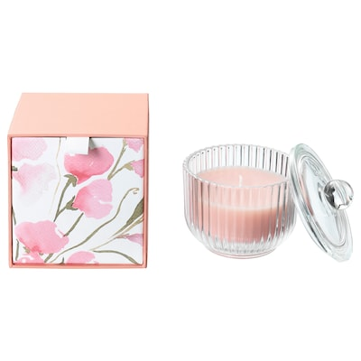 """BLOMDOFT Scented candle in glass, Sweet pea/light orange, 3 ½ """""""