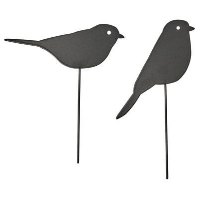 BLOMSTERBÖNA Decoration stick, set of 2, indoor/outdoor/bird black