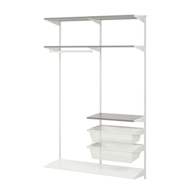 """BOAXEL 2 section shelving unit white/gray 48 """" 15 3/4 """" 79 """""""