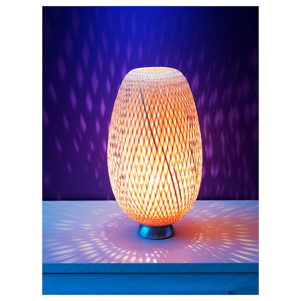 BÖJA Table lamp with LED bulb, bamboo/handmade