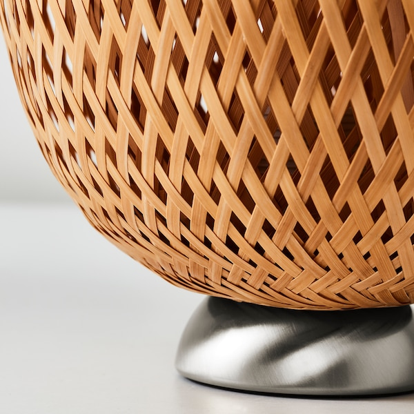 """BÖJA table lamp with LED bulb nickel plated/bamboo 16 """" 8 """" 93 """""""